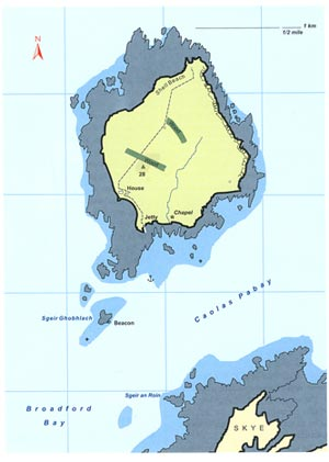 Fig. H5.1. Map of Pabay,Skye, from Haswell-Smith (2004), with kind permission