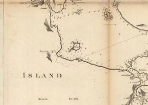Fig. H5.3. Mackenzie's chart of 1776 showing Pabay in relation to the sea route through  Kyleakin (Map.Rol.a.2, courtesy of The Trustees of the National Library of Scotland)  - click for a larger image