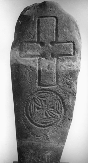 O2.5 A square-armed cross, with small encircled cross, from St. Boniface's (Orkney Museum) - click for a larger image