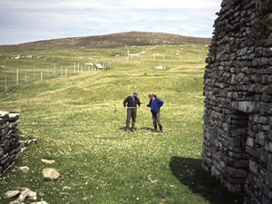 Field work on Pabbay (Sound of Harris, Outer Hebrides). L-R: Ian Simpson and Beverley Ballin Smith. (BEC) - click for a larger image
